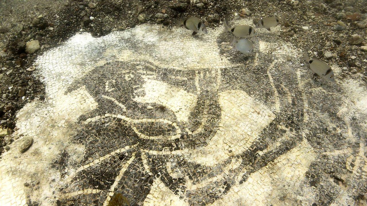 Mosaico sommerso, una volta parte del pavimento di un'antica villa (Crediti: Pomona Pictures)
