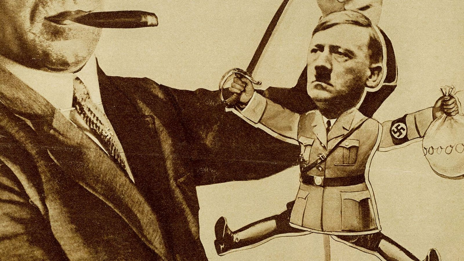 Illustrated comical black and white image of Hitler as the puppet of businessman Fritz Thyssen