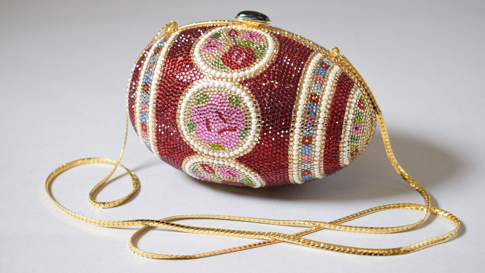 Art meets fashion in the intricate, rhinestone-encrusted Faberge Egg evening bag by Judith Leiber (Credit: Victoria and Albert