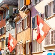 File image of Swiss flags pictured in Zurich thumbnail