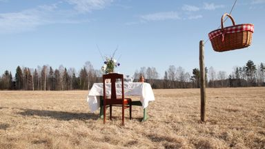 Bord För En restaurant consists of a single table and chair in a field (Credit: Credit: Bord För En)