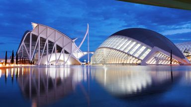 City of Arts and Sciences building at night, Valencia, Spain, Europe (Credit: Credit: TaniaL/Alamy)