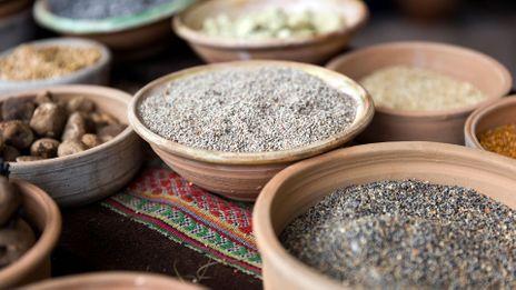 Andean food ingredients in Cusco, Peru (Credit: Credit: Goran Bogicevic/Alamy)