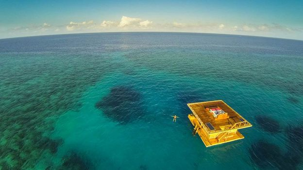 The room is located 250m from shore in the Indian Ocean (Credit: Photographer Anhede)