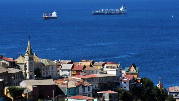 Cargo ships in Valparaiso Bay (Credit: Martin Bernetti/AFP/Getty)