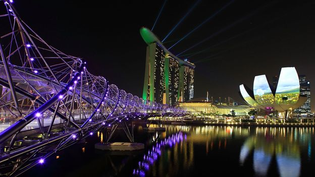 A view of the Helix Bridge, Marina Bay Sands, ArtScience Museum and the Singapore skyline (Credit: Suhaimi Abdullah/Getty Images)