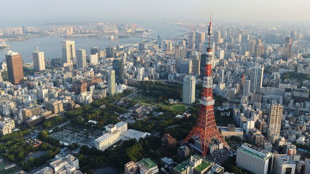 Aerial view of the Tokyo Tower and Tokyo bay area (Credit: Atsushi Tomura/Getty)