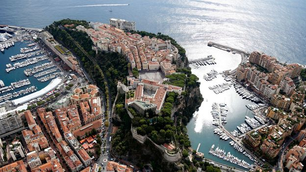 An aerial view of Monaco's harbor (Credit: Valery Hache/AFP/Getty)