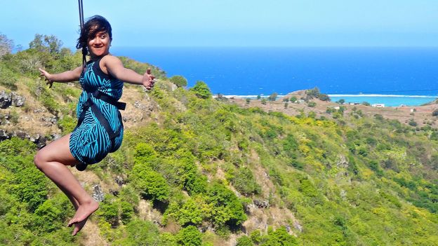 Zip-lining over the Indian Ocean (Credit: Rodrigues Island Zipline)