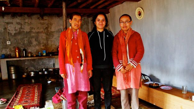 Nath with two nuns in Spiti, India (Credit: Johannes Björkman)