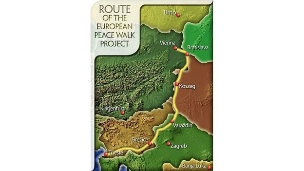 The route for Europe's first Peace Walk