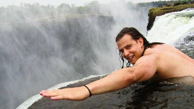 At Devil's Pool in Victoria Falls, Zambia (Credit: Marcello Arrambide)
