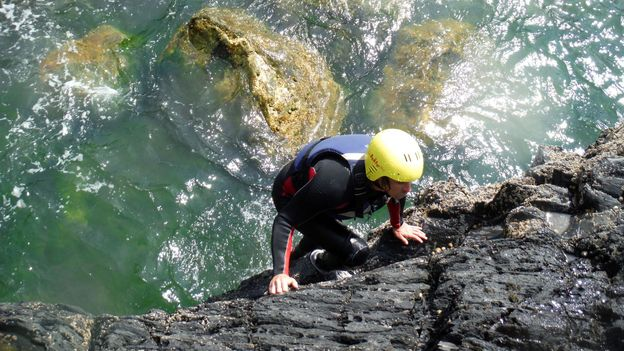 Climbing treacherous precipices (Credit: Noah Lederman)