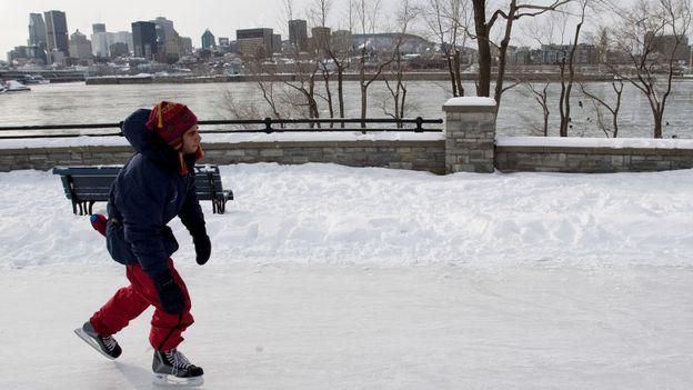 Skating the frozen St Lawrence River (Credit: Olivier Jean/AFP/Getty)