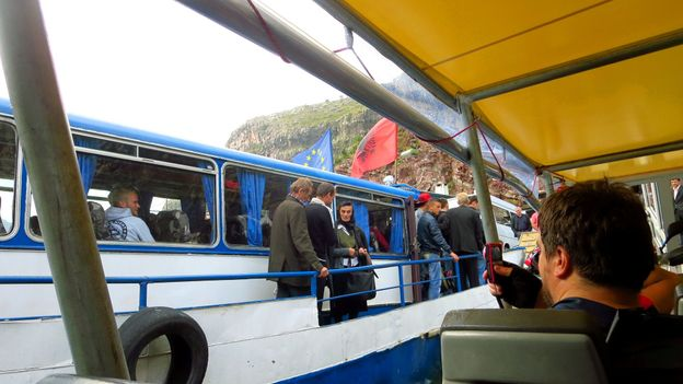 Aboard the Lake Koman ferry (Credit: Adam H Graham)