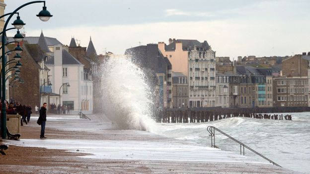 Kaboom: A wave crashes against the sea wall (Credit: Damien Meyer/AFP/Getty)