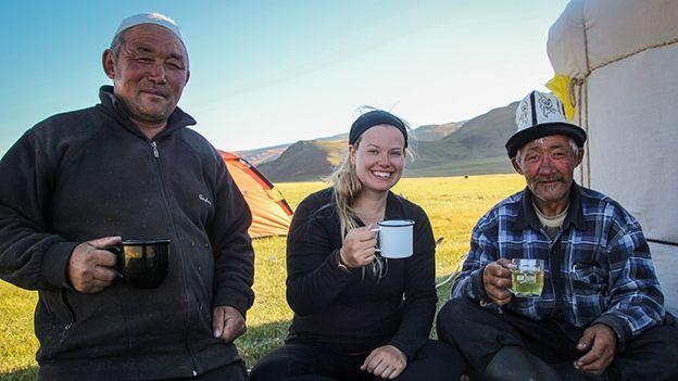 Two Kazakh wranglers in the Mongolian Altai Mountains (Credit: Liz Carlson)