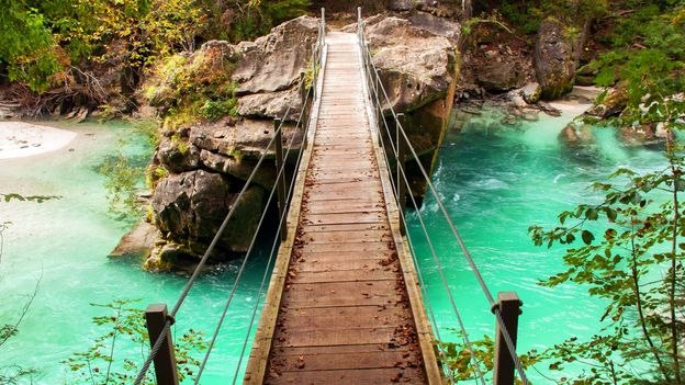 The trail crosses a rickety wooden bridge (Credit: Kirsten Amor)