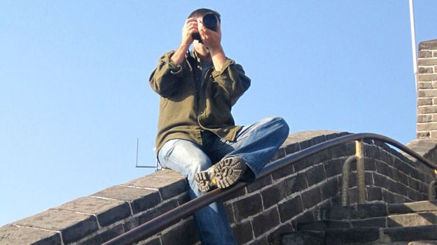 Shooting stills on the Great Wall of China (Credit: Credit: Michael Hodson)