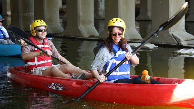 Kayaking in the Los Angeles River (Credit: Credit: James Bartlett)
