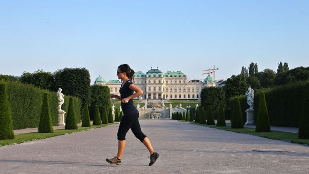 Jogging in the gardens of Belvedere Palace (Credit: Credit: Alexander Klein/AFP/Getty Images)