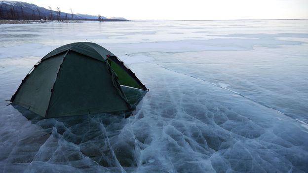 Camping on ice cracks (Credit: Credit: Stephen Fabes)