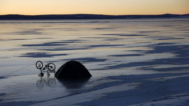 Dusk on frozen Lake Khövsgöl (Credit: Credit: Stephen Fabes)