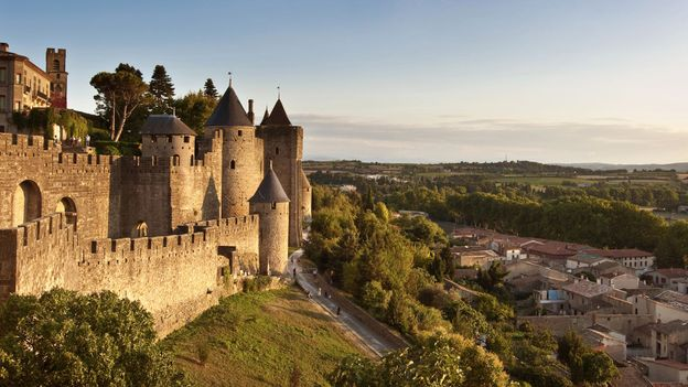Medieval fortifications tower over Carcassonne, France (Credit: Credit: Delpixart/Thinkstock)