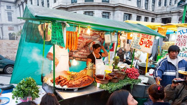 Tacos are often sold as street food in Mexico City (Credit: Credit: Thelmadatter/Wikimedia Commons/CC BY-SA 3.0)