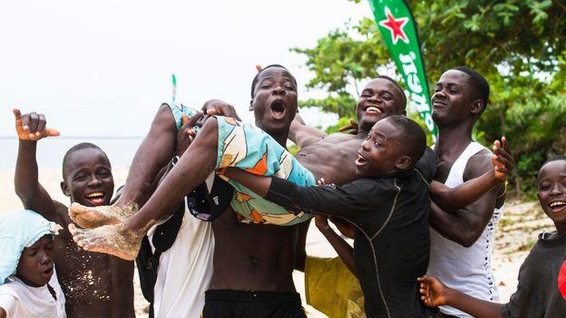 Spreading joy in Liberia through surfing (Credit: Credit: Alphanso Appleton)