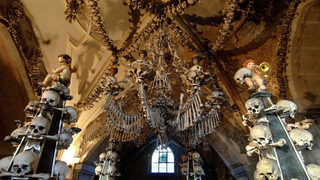 The chandelier of bones is the crowning achievement of the church (Credit: Credit: Michal Cizek/Getty)