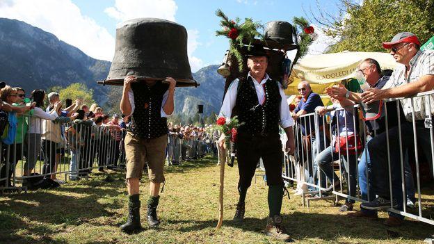 "Villagers have fun parading around at the ""Cow Ball"" (Credit: Credit: Mitja Sodja/Tourism Bohinj)"