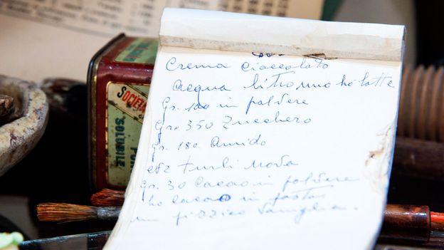A carefully handwritten recipe in the Sicilian chocolate shop (Credit: Credit: Antica Dolceria Bonajuto)