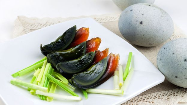 Shiny black slices of century eggs (Credit: Credit: Chunhai Cao/iStock)