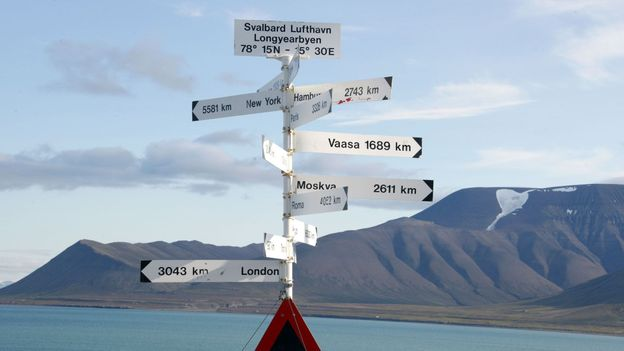 A signpost near the Longyearbyen airport (Credit: Credit: Dominique Faget/AFP/Getty)