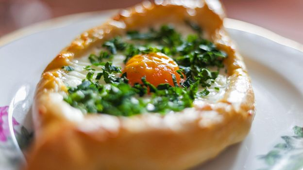 An egg can be added to the khachapuri (Credit: Credit: Gennadiy Kravchenko/Alamy)