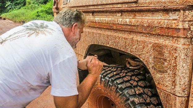 Roadside repairs in Guyana, 2014