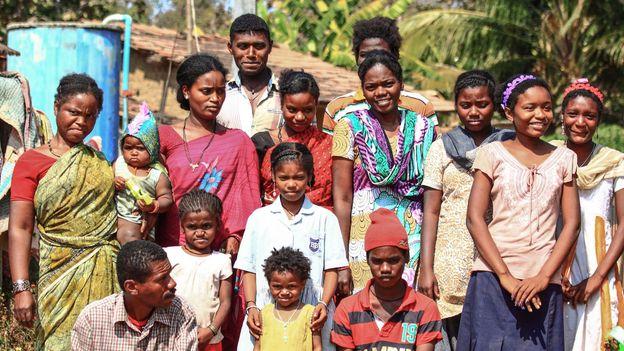 Villagers gather in Gadgera, one of the many Siddi settlements dotting the jungles of Karnataka (Credit: Credit: Neelima Vallangi)