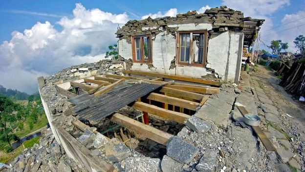 Maila and Dawa Jangbo Lama's home, which doubled as a travel lodge and grocery store, was ruined (Credit: Credit: Amrit Sharma)
