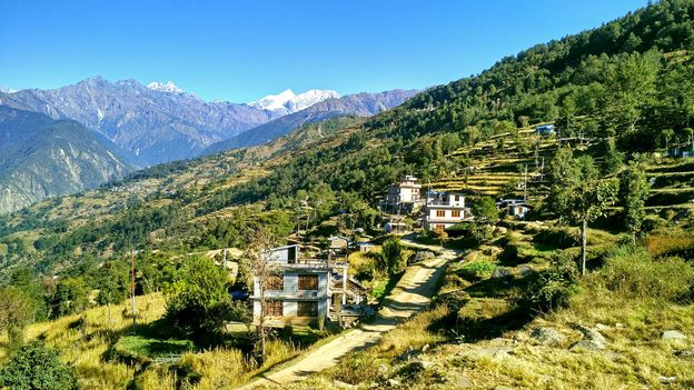 The name of the village, Manekharka, means 'the land of many stupas and greenery' (Credit: Credit: Amrit Sharma)