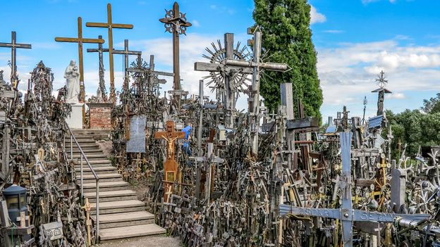Today, the Hill of Crosses is covered in more than 100,000 crucifixes and other religious icons (Credit: Credit: Paul Stewart)
