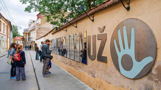 The symbol of Užupis is the Holy Hand, a blue hand with a hole in the middle, making it unable to accept bribes (Credit: Credit: Hemis/Alamy)