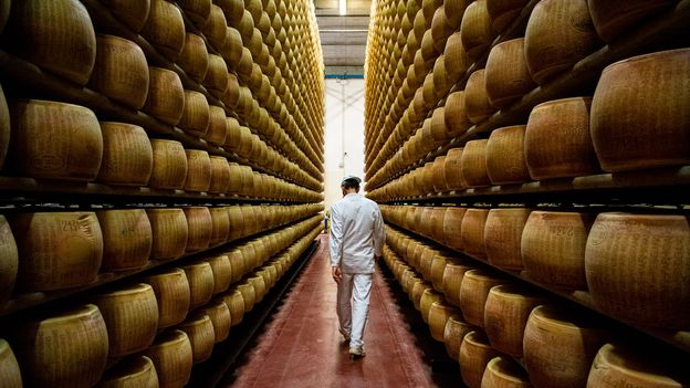 Parmigiano-Reggiano is aged anywhere from two to 20 years to develop a rich flavour and aroma (Credit: Credit: Amanda Ruggeri)