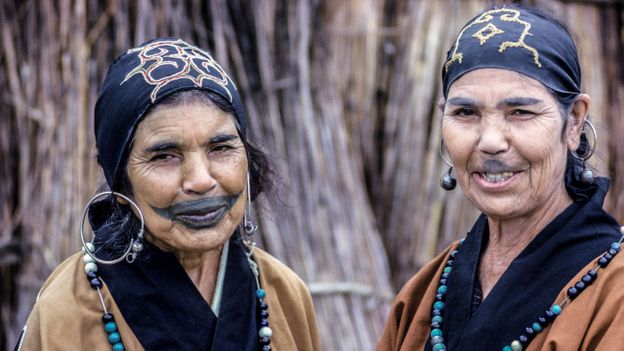 The Ainu were assimilated into Japanese society and their traditional tattoos and other customs banned (Credit: Credit: Michele and Tom Grimm/Alamy)