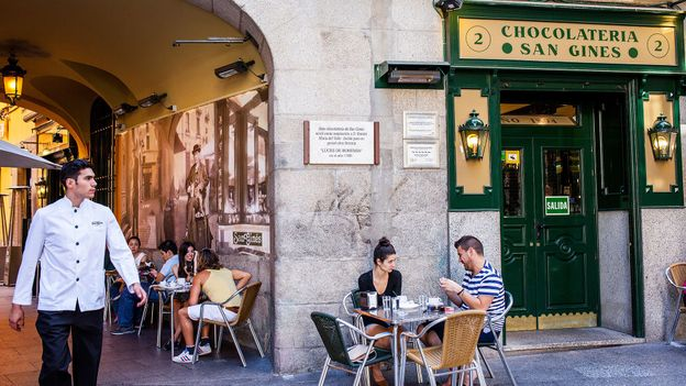 In Spain, churros are often served at chocolaterías (chocolate shops) like Madrid's San Ginés (Credit: Credit: Lucas Vallecillos/Alamy)