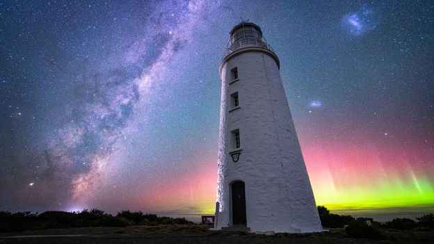 Cape Bruny Lighthouse is a beloved spot for aurora photographers (Credit: Credit: Luke Tscharke)