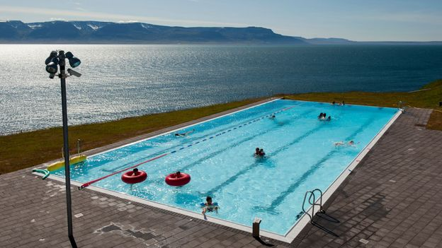 The pool at Hofsós, a small fishing village in the northern part of Iceland, has magnificent views towards the ocean (Credit: Credit: Feifei Cui-Paoluzzo/Getty Images)