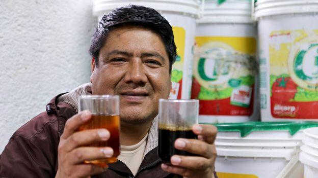 Machu Picchu-based biologist Marco Antonio Huamán creates biodiesel from used cooking oil (Credit: Credit: Elisa Parhad)