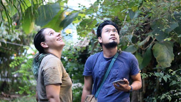 Priscillia Miard and zoology student Fizri Zubir observe colugos at The Andaman Resort (Credit: Credit: Thomas Bird)