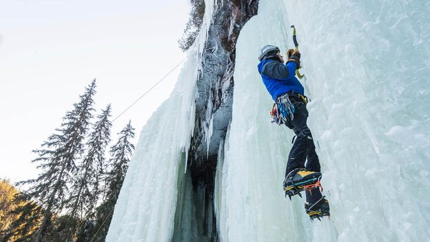 """In """"isklättring"""" or ice-climbing, Swedes use pickaxes to ascend frozen waterfalls (Credit: Credit: Johner Images/Alamy)"""